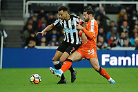 Jacob Murphy of Newcastle United battles with Elliot Lee of Luton Town during Newcastle United vs Luton Town, Emirates FA Cup Football at St. James' Park on 6th January 2018