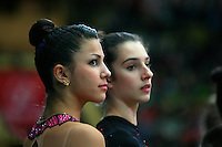 "Julie Zetlin and Gabriella Magid of USA, portrait taken during opening ceremony at 2008 World Cup Kiev, ""Deriugina Cup"" in Kiev, Ukraine on March 22, 2008."