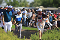Justin Rose (ENG) and Rory McIlroy (NIR) on the 1st tee during the 3rd round of the DP World Tour Championship, Jumeirah Golf Estates, Dubai, United Arab Emirates. 23/11/2019<br /> Picture: Golffile | Fran Caffrey<br /> <br /> <br /> All photo usage must carry mandatory copyright credit (© Golffile | Fran Caffrey)