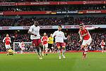Arsenal's Mesut Ozil scoring his sides second goal<br /> <br /> Barclays Premier League - Arsenal vs Aston Villa - Emirates Stadium  - England - 1st February 2015 - Picture David Klein/Sportimage