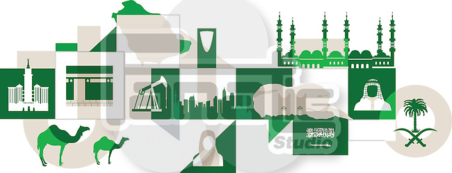 Illustrative collage of Saudi Arabia over white background