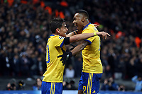 Paulo Dybala of Juventus celebrates scoring the second goal during Tottenham Hotspur vs Juventus, UEFA Champions League Football at Wembley Stadium on 7th March 2018