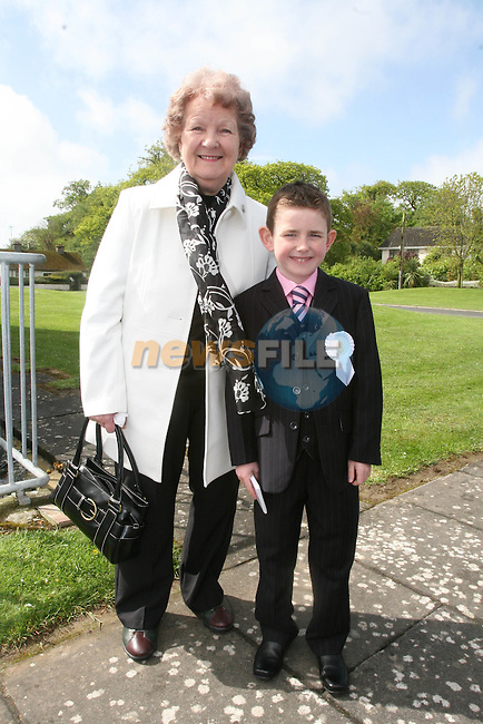 Ross Kelly with his nan Sarah at the Whitecross First Holy Communion...Photo NEWSFILE/Jenny Matthews.(Photo credit should read Jenny Matthews/NEWSFILE)....This Picture has been sent you under the condtions enclosed by:.Newsfile Ltd..The Studio,.Millmount Abbey,.Drogheda,.Co Meath..Ireland..Tel: +353(0)41-9871240.Fax: +353(0)41-9871260.GSM: +353(0)86-2500958.email: pictures@newsfile.ie.www.newsfile.ie.FTP: 193.120.102.198.