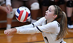 Althoff's Mary Wessel settles the ball in the second game. Althoff defeated Columbia in two games in volleyball action on Thursday August 23, 2018.<br /> Tim Vizer/Special to STLhighschoolsports.com