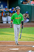 Mitch Roman (1) of the Great Falls Voyagers stands in to bat against the Ogden Raptors in Pioneer League action at Lindquist Field on August 18, 2016 in Ogden, Utah. Ogden defeated Great Falls 10-6. (Stephen Smith/Four Seam Images)