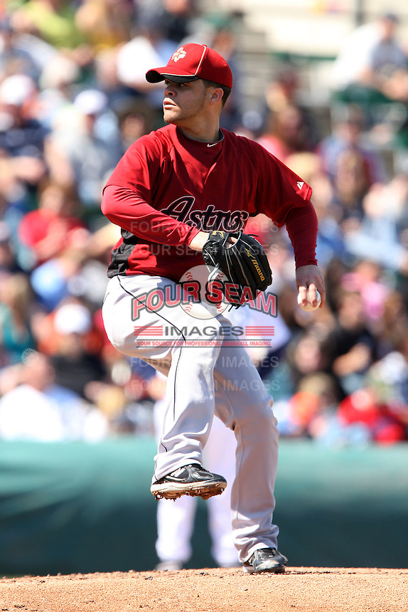 March 5, 2010:  Pitcher Wandy Rodriguez of the Houston Astros during a Spring Training game at Joker Marchant Stadium in Lakeland, FL.  Photo By Mike Janes/Four Seam Images