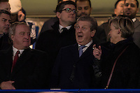 England manager Roy Hodgson finds something amusing during the UEFA Champions League Round of 16 2nd leg match between Chelsea and PSG at Stamford Bridge, London, England on 9 March 2016. Photo by Andy Rowland.