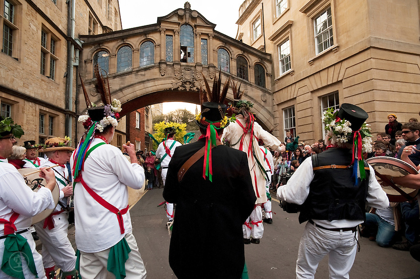 Morris dancers celebrate May Morning in front of the Bridge of Sighs in Oxford.