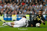 Real Madrid´s Mexican forward Chicharito and Villareal´s goalkeeper S. Asenjo