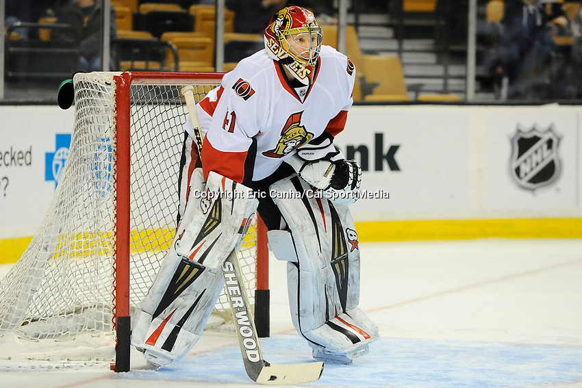 February 8, 2014 - Boston, Massachusetts, U.S. - Ottawa Senators goalie Craig Anderson (41) during the warm up period at the NHL game between the Ottawa Senators and the Boston Bruins held at TD Garden in Boston Massachusetts.   Eric Canha/CSM