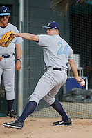 Wilmington Blue Rocks pitcher Jakob Junis (24) before a game against the Myrtle Beach Pelicans at Ticketreturn.com Field at Pelicans Ballpark on April 09, 2015 in Myrtle Beach, South Carolina. Myrtle Beach defeated Wilmington 9-1. (Robert Gurganus/Four Seam Images)