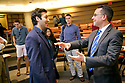 """Paul Teller, Special Assistant to the President for Legislative Affairs, speaks with senior Akshaya Trivedi after Teller's conversation about """"Partisan Politics or Reaching Across Party Lines: The Balancing Act for Trump's Legislative Priorities,"""" in Sanford School of Public Policy. The event was facilitated by Peter Feaver."""