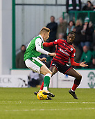 4th November 2017, Easter Road, Edinburgh, Scotland; Scottish Premiership football, Hibernian versus Dundee; Dundee's Glen Kamara tackles Hibernian's Vykintas Slivka