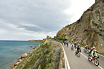 Stunning coastline scenery during Stage 2 of Il Giro di Sicilia running 236km from Capo d'Orlando to Palermo, Italy. 4th April 2019.<br /> Picture: LaPresse/Fabio Ferrari | Cyclefile<br /> <br /> <br /> All photos usage must carry mandatory copyright credit (© Cyclefile | LaPresse/Fabio Ferrari)