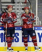 Jesse Newman (RIT/East - 10), Brock Bradford (BC/East - 19) - The D1 and DIII seniors taking part in the Skills Challenge practiced on Friday, April 10, 2009, during the 2009 Frozen Four at the Verizon Center in Washington, DC.