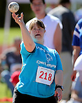 Elizabeth Tackett, of Lassen, competes in the softball toss event at the Special Olympics Nevada 2013 Summer Games in Reno, Nev., on Saturday, June 1, 2013. <br /> Photo by Cathleen Allison