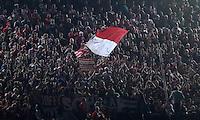 FUSSBALL  CHAMPIONS LEAGUE  HALBFINALE  RUECKSPIEL  2012/2013      FC Barcelona - FC Bayern Muenchen              01.05.2013 Eine einsame FC Bayern Muenchen Fahne flattert im Fanblock