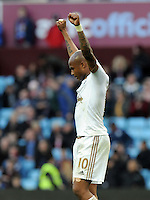 Andre Ayew of Swansea City celebrates scoring the winning goal at the final whistle during the Barclays Premier League match between Aston Villa v Swansea City played at the Villa Park Stadium, Birmingham on October 24th 2015