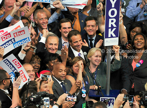 The New York Delegation casts its 291 votes at the 2016 Democratic National Convention held at the Wells Fargo Center in Philadelphia, Pennsylvania on Tuesday, July 26, 2016.<br /> Credit: Ron Sachs / CNP<br /> (RESTRICTION: NO New York or New Jersey Newspapers or newspapers within a 75 mile radius of New York City)