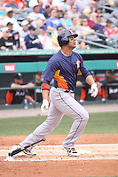 Houston Astros Carlos Pena (12) follows through on his swing against the Miami Marlins during a spring training game at the Roger Dean Complex in Jupiter, Florida on March 12, 2013. Houston defeated Miami 9-4. (Stacy Jo Grant/Four Seam Images)........