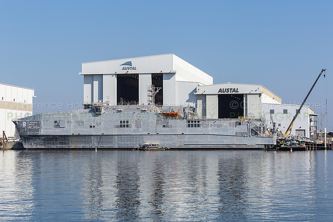 USNS Yuma Spearhead class expeditionary fast transport (EFT) under construction at the Austal Shipyard on the Mobile River in Mobile, Alabama.  The ship will be operated by the Military Sealift Command.