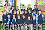 Teacher Noiri?n Burke, Faha National School, pictured with her junior infants Cian Burke, Cian Fleming, Dan Kelliher, Darragh Foley, Ashton O'Meara, Shauna Courtney, Paddy Tangney, Sean O'Brien, Danny Breen, James Clifford, Darragh O'Neill, Tadhg Gosney, Ellie May Byrne, Caithlin O'Donoghue, Ellie Mai Nugent, Lily Clifford, Katie Courtney, Aoife Courtney, Leah Brennan and Sarah Fitzgerald during their first week in the school on Friday.....