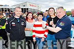 L-R Ger Neeson, Karen Hurley, Norma Lucey, Laura O'Sullivan, Killarney and Farronfours Mike Moriarty at the finish ramp of the Rally of the Lakes 40th yr anniversary last Sunday afternoon.