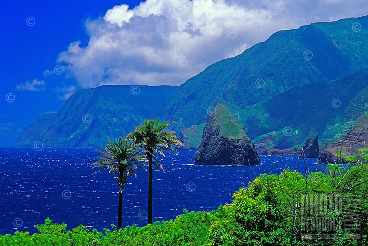 View of northern coast cliffs and Okala Island, viewed from Kalawao, Kalaupapa Peninsula, Molokai