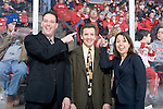 MADISON, WI - FEBRUARY 11: Assistant coach Dan Koch, head coach Mark Johnson and assistant Tracey Cornell of the Wisconsin Badgers women's hockey team pose for a photo prior to the game against the Ohio State Buckeyes at the Kohl Center on February 11, 2007 in Madison, Wisconsin. The Badgers beat the Buckeyes 3-2. (Photo by David Stluka)