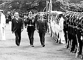 "United States President Gerald R. Ford and Mohammad Reza Pahlavi, the Shah of Iran troop the line during arrival ceremonies welcoming His Highness to the White House on May 15, 1975.<br /> Credit: Benjamin E. ""Gene"" Forte - CNP"