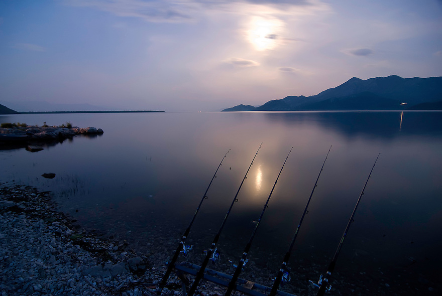 Fishing rods on Lake Skadar, Montenegro