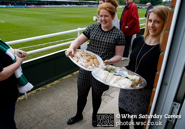 Club staff taking food to the sponsors bar. Vanarama National League North, Promotion Final, North Ferriby United v FC Fylde, 14th May 2016.