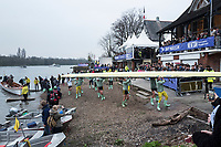 Greater London. United Kingdom, Cambridge Women's Squad carry the boat back to the storage area. University Boat Races , Cambridge University vs Oxford University. Putney to Mortlake,  Championship Course, River Thames, London. <br /> <br /> Saturday  24.03.18<br /> <br /> [Mandatory Credit  Intersport Images]