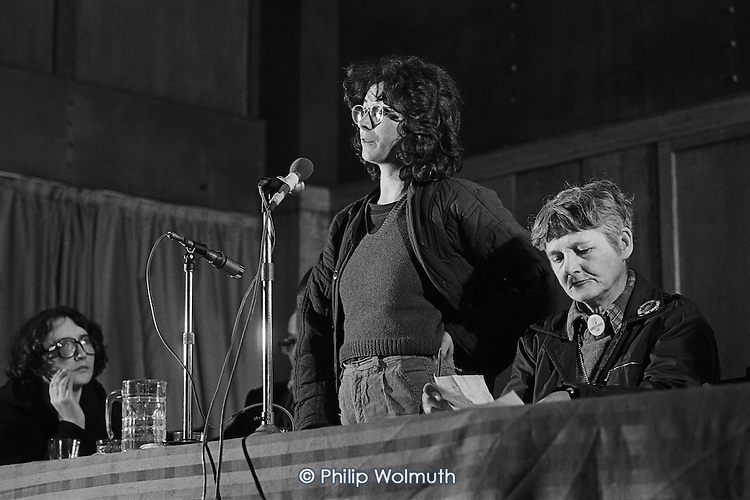 Maeve Foreman, Women and Ireland Group; Pat Arrowsmith (Chair).  United Troops Out Movement Smash H Block meeting, Conway Hall