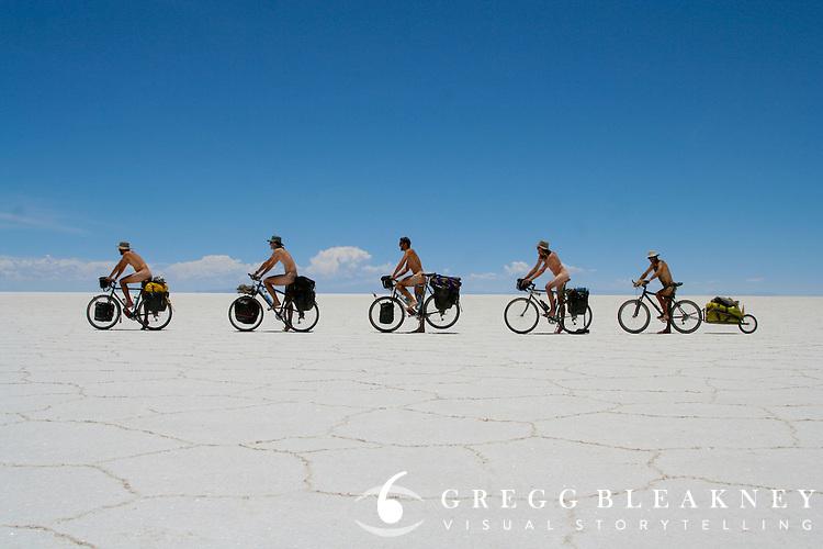 The Full Monty Rides Bicycle - Salar de Uyuni - Bolivia - South America