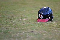 Illinois State Redbirds helmet sits on the ground after a game against the Bowling Green Falcons on March 11, 2015 at Chain of Lakes Stadium in Winter Haven, Florida.  Illinois State defeated Bowling Green 8-7.  (Mike Janes/Four Seam Images)