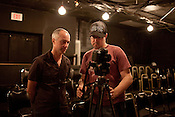 June 27, 2012. Durham, NC.. Jay O'Berski, left, and DOP Nick Karner review a take.. Jay O'Berski, of Little Green Pig, wraps up the filming of Basilisk, a feature film about the love life of a disabled woman.