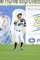 Jamestown Jammers third baseman Francisco Aponte (31) waits for a fly ball during a game against the Mahoning Valley Scrappers on June 16, 2014 at Russell Diethrick Park in Jamestown, New York.  Mahoning Valley defeated Jamestown 2-1.  (Mike Janes/Four Seam Images)
