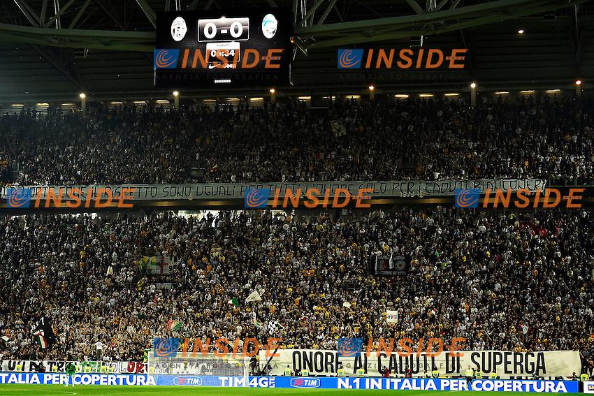 Striscioni pro e contro i caduti di Superga <br /> Torino 06-05-2014 Juventus Stadium - Football Calcio 2013/2014 Serie A, Juventus - Atalanta, Foto Andrea Staccioli / Insidefoto
