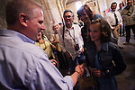 Glenn Beck, left, speaks with actress Janine Turner and family, Wednesday, April 15, 2009, at the Alamo in San Antonio. (Darren Abate/pressphotointl.com)