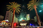 Caesars Palce celebrates 50 years on July 3rd 2016 with fireworks, Red Bull Airforce sky dive team