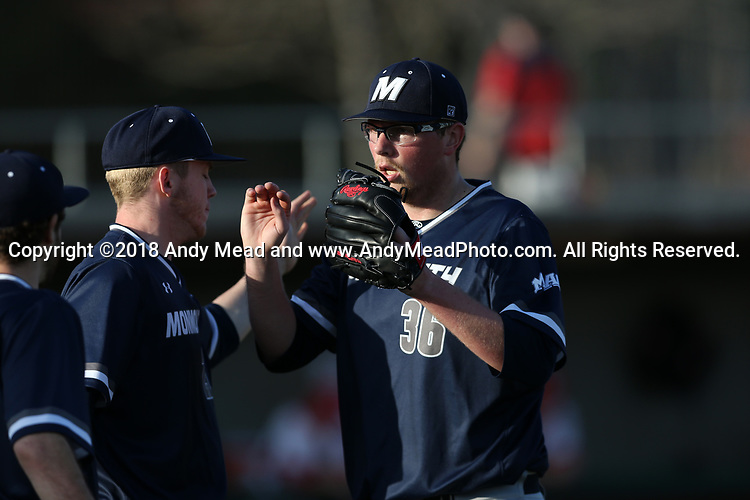CARY, NC - FEBRUARY 23: Monmouth's Ricky Dennis (36). The Monmouth University Hawks played the Saint John's University Red Storm on February 23, 2018 on Field 2 at the USA Baseball National Training Complex in Cary, NC in a Division I College Baseball game. St John's won the game 3-0.