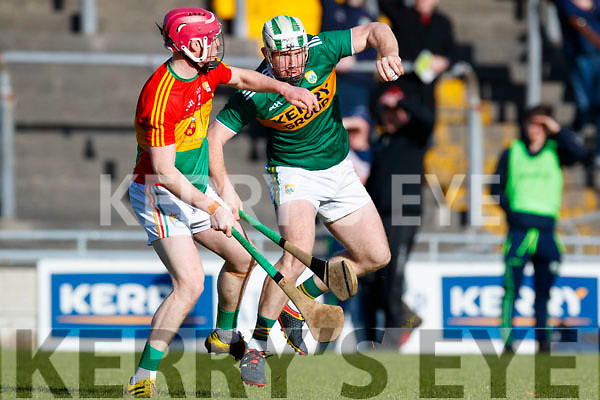 Padraig Boyle Kerry in action against Dion Wall Carlow in Div 2a of the National Hurling League at Austin Stack Park Tralee on Sunday.