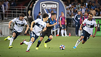 SAN JOSE, CA - AUGUST 25: Cristian Espinoza #10 of the San Jose Earthquakes amidst Vancouver Whitecaps players during a game between Vancouver Whitecaps FC and San Jose Earthquakes at Avaya Stadium on August 24, 2019 in San Jose, California.