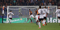 Calcio, Champions League, Gruppo E: Roma vs Bayer Leverkusen. Roma, stadio Olimpico, 4 novembre 2015.<br /> Roma's Edin Dzeko, second from left, scores during a Champions League, Group E football match between Roma and Bayer Leverkusen, at Rome's Olympic stadium, 4 November 2015.<br /> UPDATE IMAGES PRESS/Isabella Bonotto
