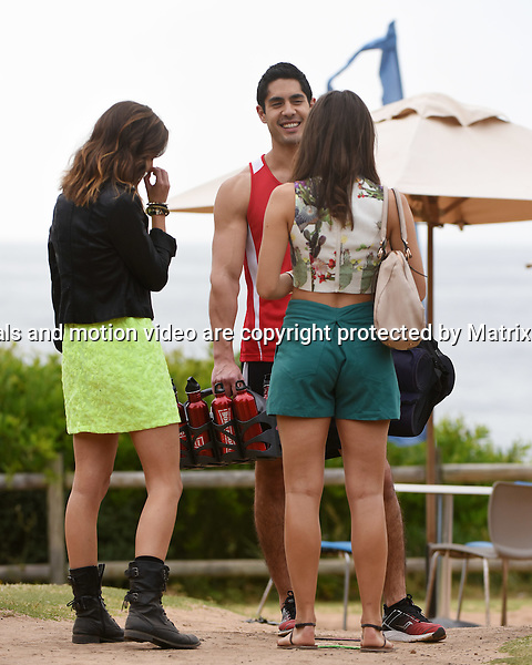 10th November, 2014 SYDNEY AUSTRALIA<br /> EXCLUSIVE <br /> Pictured, Tai Hara, Isabella Giovinazzo and Cassie Howarth, cast members of Home and Away doing scenes at the North Palm Beach Surf Club, Palm Beach, NSW. <br /> Director: Danny Raco<br /> <br /> *No internet without clearance*.MUST CALL PRIOR TO USE +61 2 9211-1088. Matrix Media Group.Note: All editorial images subject to the following: For editorial use only. Additional clearance required for commercial, wireless, internet or promotional use.Images may not be altered or modified. Matrix Media Group makes no representations or warranties regarding names, trademarks or logos appearing in the images.