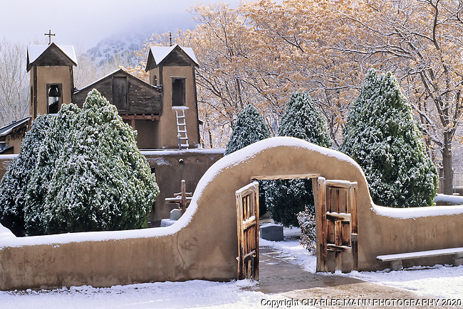 The Santuario de Chimayo, often called the Lourdes of America for it's miracle healing soil seems even more mystical when covered with a dusting of winter snow.