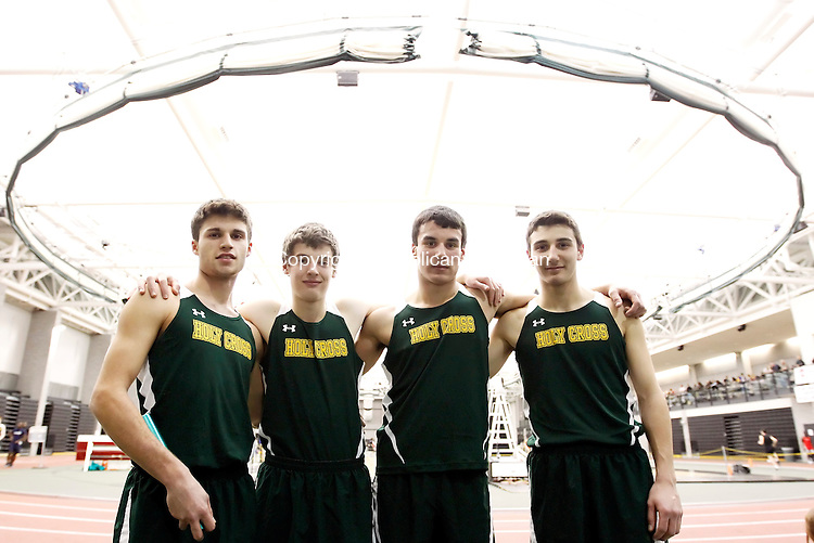 New Haven, CT- 09, February 2011-020911CM09 Holy Cross' Patsy Casalino, Dan Creem, Matthew Satkowski and Adam Quicquaro set the NVL meet record in the 4x800m relay during the NVL Track and Field Championships Wednesday afternoon in New Haven.  Christopher Massa Republican-American
