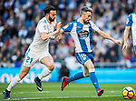 Luis Carlos Correia Pinto, Luisinho, of RC Deportivo La Coruna fights for the ball with Borja Mayoral Moya of Real Madrid during the La Liga 2017-18 match between Real Madrid and RC Deportivo La Coruna at Santiago Bernabeu Stadium on January 21 2018 in Madrid, Spain. Photo by Diego Gonzalez / Power Sport Images
