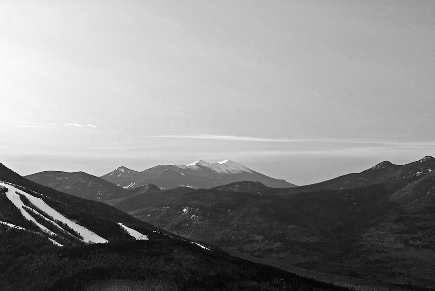 The whole of Franconia Ridge, captured from a distant outlook on a cold winters day.